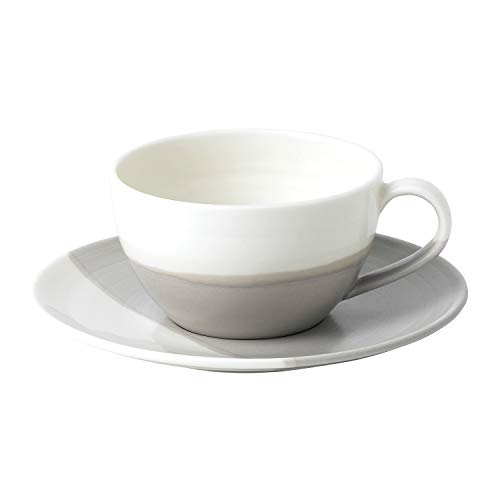 Royal Doulton 40032779 Coffee Studio Cappuccinotasse mit Untertasse, Bleikristall, grau