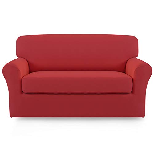 Easy-Going 2 Pieces Microfiber Stretch Sofa Slipcover – Spandex Soft Fitted Sofa Couch Cover Washable Furniture Protector with Elastic Bottom Kids Pet(Loveseat,Christmas Red)
