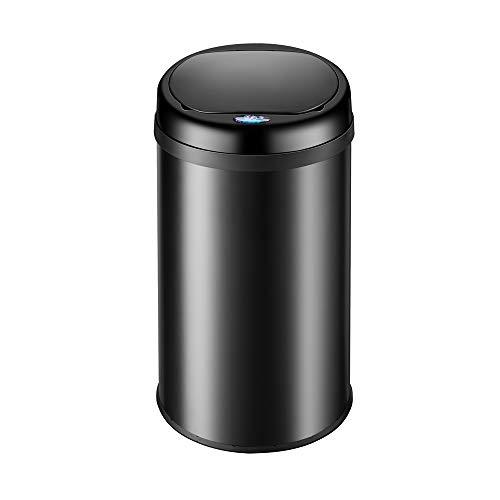 monzana Sensor Mülleimer 30L Abfalleimer mit LED Funktionsanzeige Automatik Müllbehälter Abfallbehälter Edelstahl Papierkorb mit Bewegungssensor schwarz