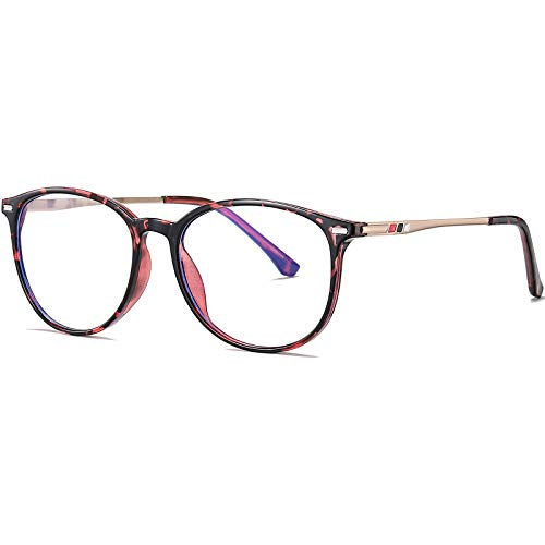 Joopin Occhiali da Computer Filtro Luce Blu con Lenti Trasparenti, Montature Occhiali da Vista Rotondi Vintage per Donna e Uomo Antiriflesso Anti-Affaticamento Degli Occhi (Leopardati)
