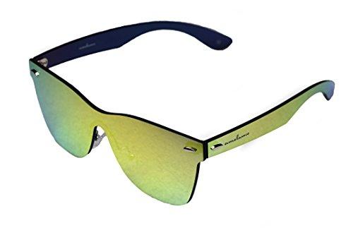 amoloma Rahmenlose Randlose Nur Glas Sonnenbrille gold verspiegelt für Damen und Herren