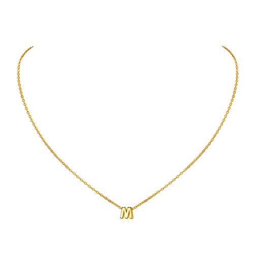 ChicSilver Cadena de Oro con Letra M Abalorio para Collares Plata de Ley 925 Gargantilla Clavícula Cadena 18 Pulgadas Collar Letras Primeras Nombres