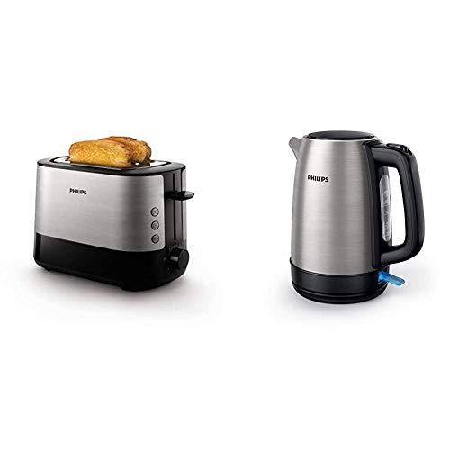 Philips HD9350/90 Wasserkocher (2200 Watt, 1.7 Liter, Edelstahl) [Energieklasse A+++] + HD2637/90 Toaster (7 Stufen, Brötchenaufsatz, Stopp-Taste, 1000 W) schwarz/edelstahl