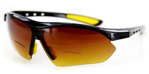 Aloha Eyewear Daredevil Mode Bifocal Sonnenbrillen W/Wrap-Around Sports Design und Anti-Glare Beschichtung für Aktiv (1,50) 1.5 70 Schwarz Gelb