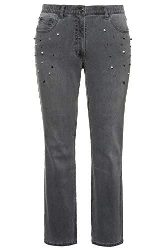 Ulla Popken Damen Perlenbesatz, Sammy Slim Jeans, Blau (Dark Denim 93), (Herstellergröße: 50)