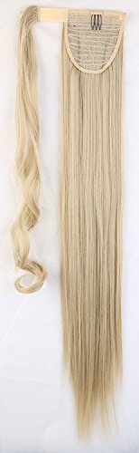 S-noilite® Haarteil Zopf Pferdeschwanz Glatt Haarverlängerung 66cm natürlich Wrap on Ponytail div. Farben (66cm,Graublond Mix Bleichmittel Blond)