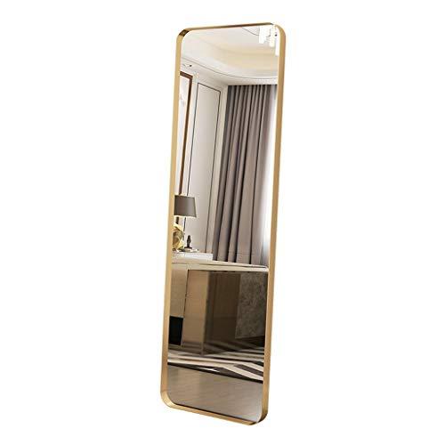 ZLDJ Espejo de Cuerpo Entero Espejo de Piso Moderno descarado de pie apoyado contra la Pared Marco de Metal Negro Espejo de Cuerpo Entero (Size : Gold 40x70cm)