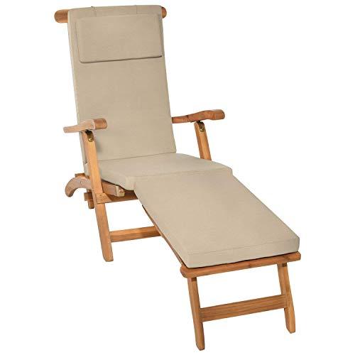Beautissu Auflage für Deckchair LoftLux DC 175x45x5cm Luxus Polster-Auflage Liege-Stuhl - Bezug Abnehmbar Natur erhältlich