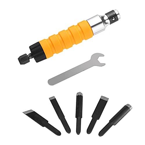 Herramienta de tallado de cincel eléctrico, herramienta de cuchillo de grabado de cincel de tallado para carpintería con 5 cuchillas y 1 llave