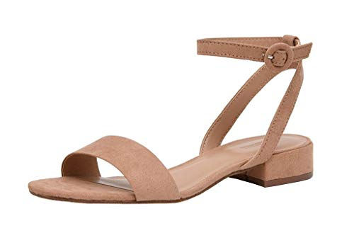 Cushionaire Women's Nila one band low block heel sandal, Nila Taupe 8.5 +Wide Widths Available