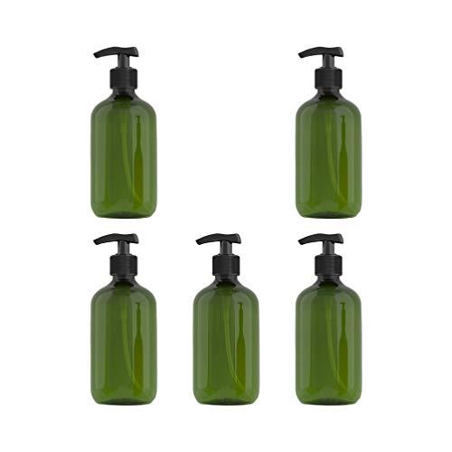 Beaupretty 5Pcs 300Ml Bouteille de Pompe à Shampoing Bouteilles en Plastique Ambre Pompe Distributeur de Lotion Bouteille Vide avec Bouchon de Pompe (Vert Foncé)