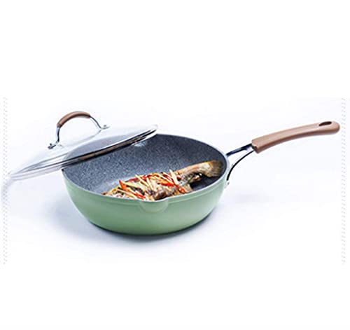 N\C ZZST Wok Nonstick Saute Pan Frying Pan with Lid Induction Compatible, Dishwasher, Oven, Multi-Function Skillet with Stainless Steel Handle ZZST