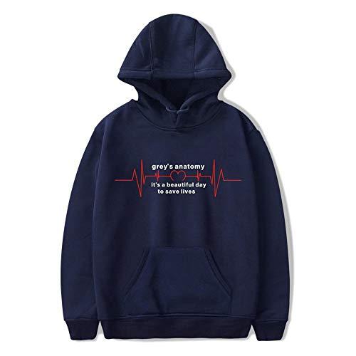 HTRWHTRE The Grey\'s Anatomy Druck Hooded Hoodie Langarm für Männer und Frauen Navy Blue B S