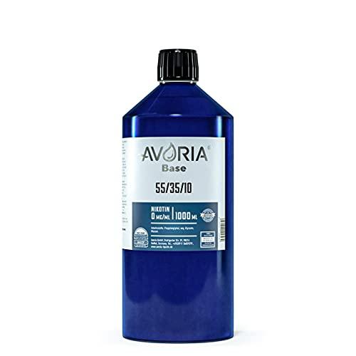 AVORIA – Liquid Base 55/35/10 zur Herstellung von eigenen Liquids für E-Zigaretten, Vaper und Dampfer | Basis - Made in Germany | Basen ohne Nikotin (1 x 1000 ml)