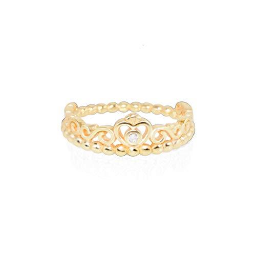 Anillo Charms Oro Estilo Simple Corona Cristal Anillo de Dedo para Mujer Regalo de joyería