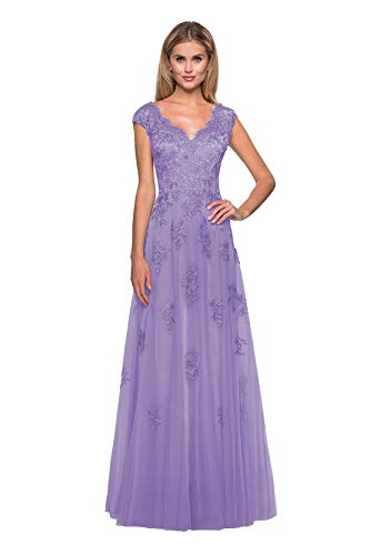 Clothfun Tulle Long Mother of The Bride Dresses for Wedding Formal Dress Evening Gowns with Pockets Lavender 2
