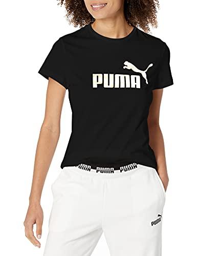 PUMA Women's Essentials+ Metallic Logo Tee, Black-Gold, Medium