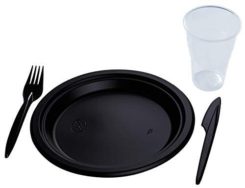 RAGO Premium - Set desechable de 300 Piezas de plástico - 100 Cuchillos, 100 Tenedores, 50 Platos, 50 Vasos de 400 ml - Negro