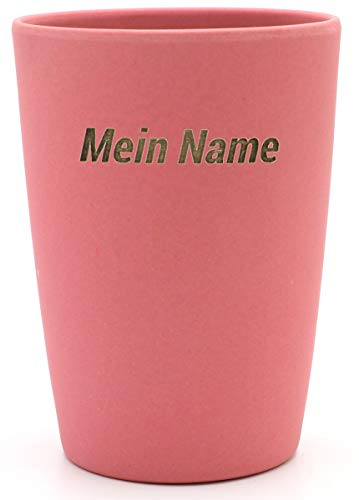 Magu 1 Becher mit Namen personalisierter Bambus Trinkbecher - Individuelle Namensgravur Zahnputzbecher 461 - naturrot
