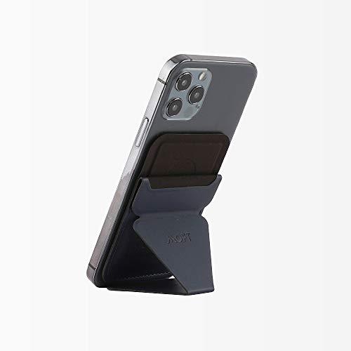 MOFT マグネットスマートホンスタンド iPhone 12対応 スマートホンスタンドホルダーマグネット MagSafe対応 スマートホンスタンドマグネット 磁力超強 スマートホンホルダーマグネット 角度調節 カードケース機能 薄型軽量 折り畳み式 複合材質 磁石十六個 (ブルー)