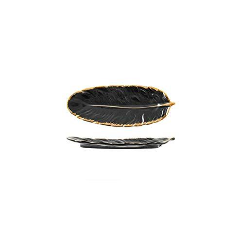 WYMGFD Plato de fruta chapado en oro de cerámica bandeja de joyería accesorios de vajilla, plato de fruta de postre placa de cocina | bandeja de almacenamiento
