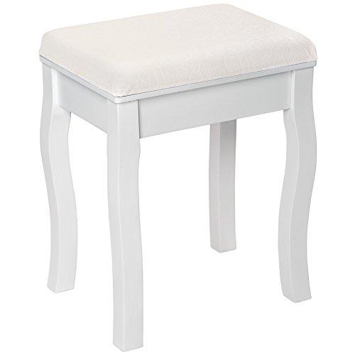 TecTake Sgabello per Tavolo da Trucco toeletta Sedia Shabby Chic Poltrona Legno Bianco | Circa 40x30x51cm