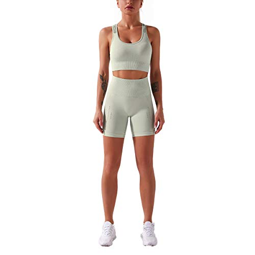 Women's Sportswear Two Piece Set, Seamless Solid Color Yoga Bodybuilding Elastic Suit for Female (Light Green, L)