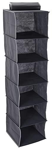 Hängeaufbewahrung Hängeregal mit Fächern, Kleiderschrank Organizer, faltbar, grau, Aufbewahrungssystem für Kleidung und Camping (30 x 30 x 120 cm - 6 Fächer)