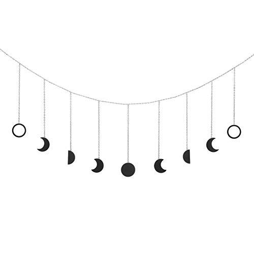 OCIOLI Mondphasen-Wandbehang Mond Dekor Mond Wanddekoration Wandkunst Schlafzimmer Boho hängende Ornamente für Schlafzimmer Hochzeit Home Office Kinderzimmer Wohnheim