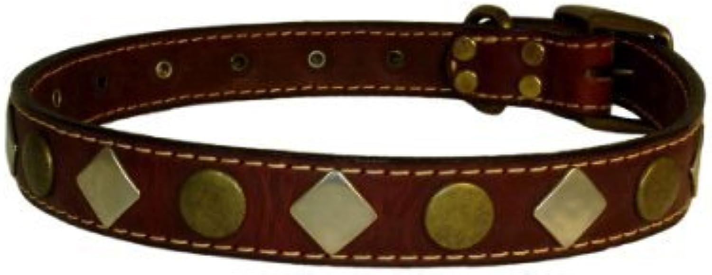 Heirloom Studded Dog Collar Size  1  x 14 , color  Burgundy