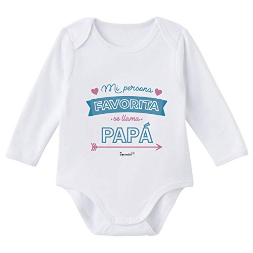 SUPERMOLON Body bebé manga larga Mi persona favorita se llama Papá Blanco algodón para bebé 0-3 meses