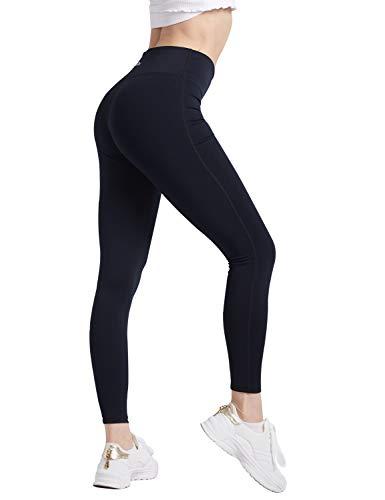 COOLOMG Damen Mädchen Leggings Yoga Sporthose Training Fitness Running Gym Workout Schnell trocknend + Schweißband Kopf MEHRWEG - 2