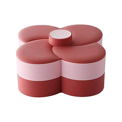 Baoblaze Flower Design Snack Box Rotating Candy Snack Trays 2 Layer Nuts Partition Manager Storage Living Room Wedding Supplies - red