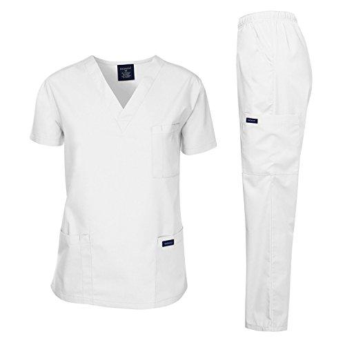 Dagacci Scrubs Medical Uniform Unisex Scrubs Set Medical Scrubs Top and Pants (Large, White)