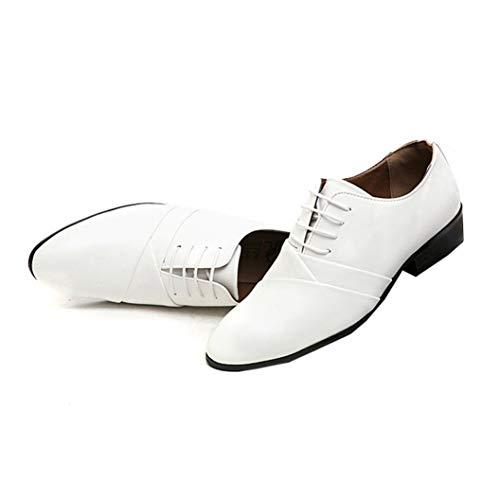 Scarpe Eleganti da Uomo d'Affari Scarpe Basse in Pelle Resistenti all'Usura Autunnali Scarpe Oxford Scarpe a Punta da Uomo Bianche