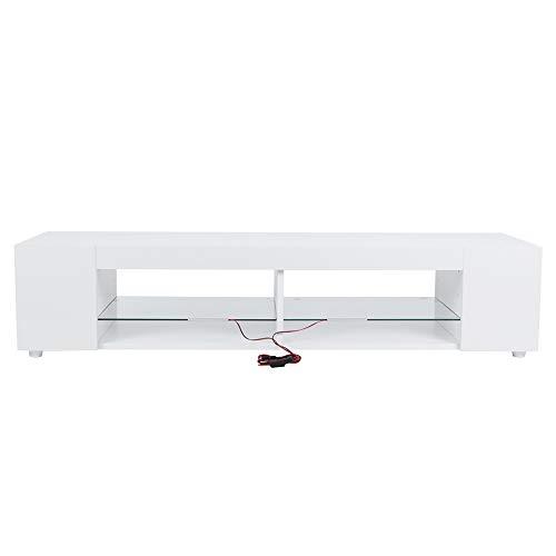 Haofy Mueble de Almacenamiento para Soporte de TV, Mueble de TV Blanco Mesa de Soporte de TV Frontal de Alto Brillo con luz LED Azul para Sala de Estar(EU Plug)