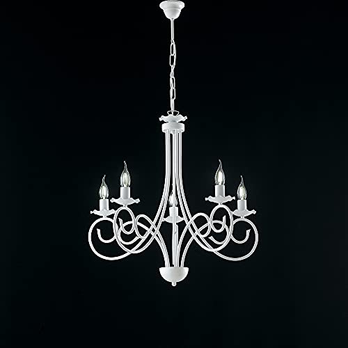 Lámpara provenzal Candelabro 5 luces hierro forjado blanco Shabby Serie Alma