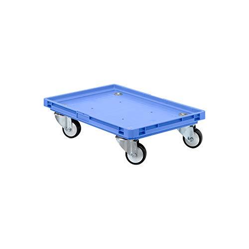 SSI Schäfer Kistenroller Transportroller – 200kg Traglast, Transporthilfe Rollbrett Fahrgestell Eurobox-Transport, Kunststoffrollen - blau