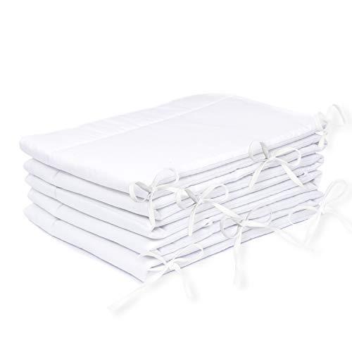Amilian® Bettumrandung Nest Kopfschutz Nestchen 420x30cm, 360x30cm, 180x30 cm Bettnestchen Baby Kantenschutz Bettausstattung Einfarbig- weiß (420x30cm)