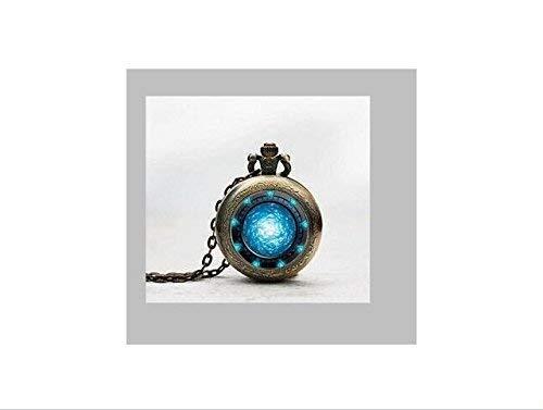 Taschenuhren, Stargate Portal Atlantis Anhänger Taschenuhr, Stargate Portal Atlantis Halskette Taschenuhr Charme, Stargate Portal Atlantis Anhänger Taschenuhr Glasfliesen Schmuck