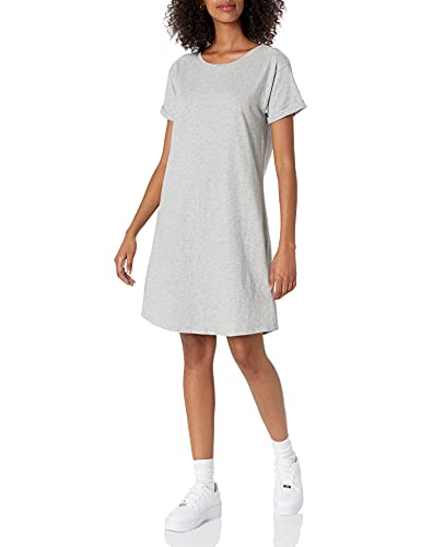 Daily Ritual Women's Lived-in Cotton Relaxed-Fit Roll-Sleeve Crewneck T-Shirt Dress, Light Heather Grey, X-Small