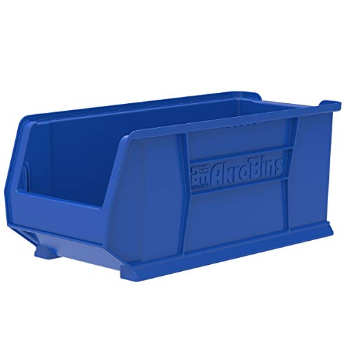 Akro-Mils 30287 24-Inch D by 11-Inch W by 10-Inch H Super Size Plastic Stacking Storage AkroBin, Blue, Case of 4