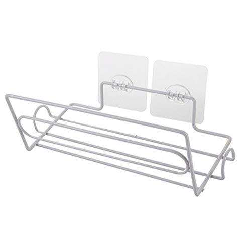 PABESAM Portarrollos de papel para colgar toallas de pared,sin perforaciones,para papel de aluminio y rollo de cocina,23,8 x 8,8 x 10,4 cm,color blanco