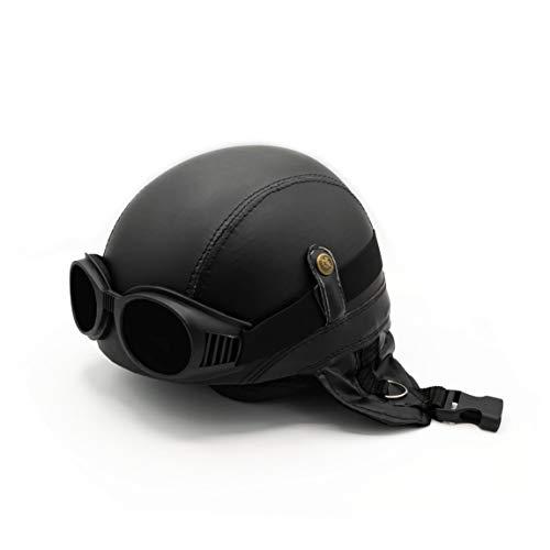 Mienloco Motorrad Jet Helm Harley Chopper Militär Halbschale Biker Mofa Roller Wehrmacht (H4M)