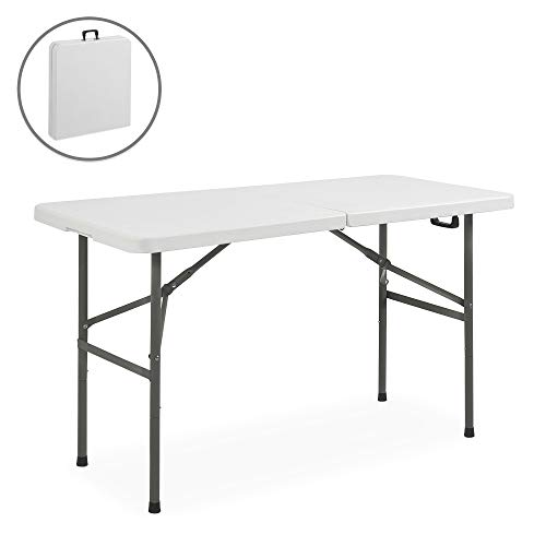 Best Choice Products 4ft Indoor Outdoor Portable Folding Plastic Dining Table w/Handle, Lock for Picnic, Party, Camping - White