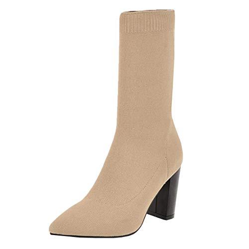 MISSUIT Damen Strick Stretch Ankle Boots Socks Spitze Stiefeletten High Heels Halbstiefel Blockabsatz Ohne Reißverschluss(Beige,41)