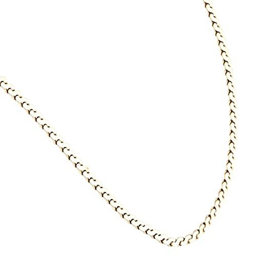 Jollys Jewellers Collar de oro amarillo de 9 quilates con eslabones en forma de 'S' para mujer (1 mm de ancho). Collar único para mujer