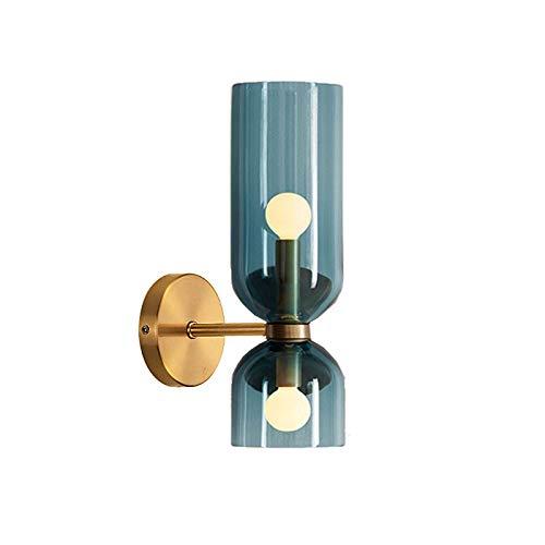 BANNAB Lámpara de Pared Moderna de 2 Luces con Acabado de latón de Primera Calidad, Pantalla de lámpara de Vidrio, lámpara de Pared Interior para Pasillo de Noche, Sala de Estar (Azul)