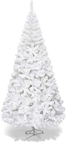 Goplus 6ft Artificial Christmas Tree Xmas Pine Tree with Solid Metal Legs Perfect for Indoor and Outdoor Holiday Decoration, White