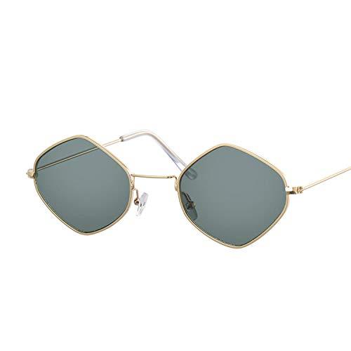 Gafas De Sol Gafas De Sol Cuadradas Vintage para Mujer, Gafas De Sol con Espejo, Moda Femenina, Gafas De Montura Pequeña Uv400-Gold_Deep_Green